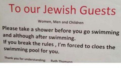 """L'hotel in Svizzera ai clienti ebrei: """"Doccia prima del bagno in piscina"""""""